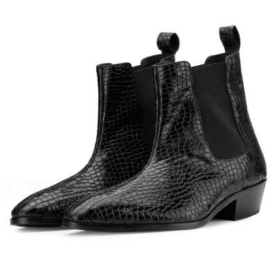 Maverick Chelsea Boots in Black Croc with Cuba Heel