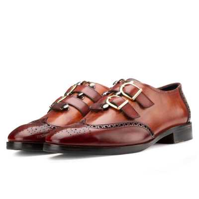 Tyler Wingtip Laceup Shoes with Dual Straps in Cognac