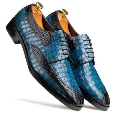 Ross Derby Shoes in Blue & Black Croc