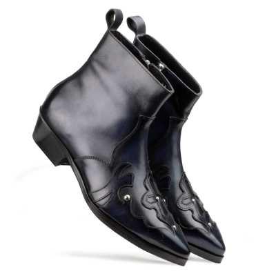 Montana Zipper Cowboy Boots in Black Blue