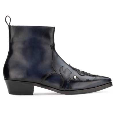 Montana Zipper Cowboy Boots in Black Blue