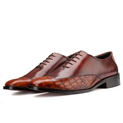 Atticus Oxford shoes in Brown & Tan Croc