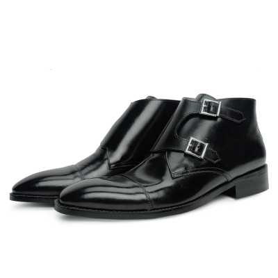 Bond Double Monk Captoe Boots in Black