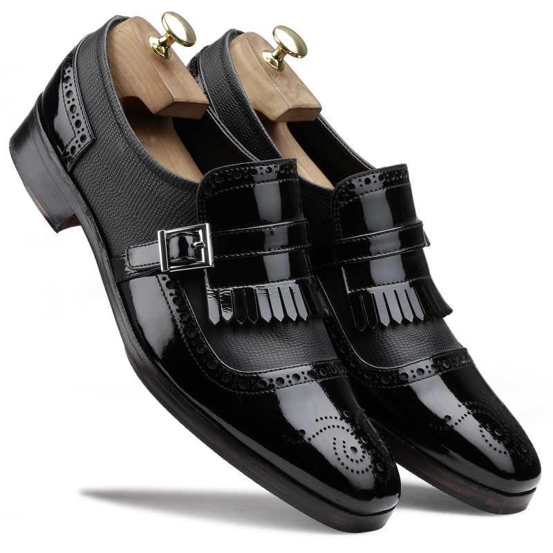 The Marco Dual Textured Kiltie Monkstrap in Black