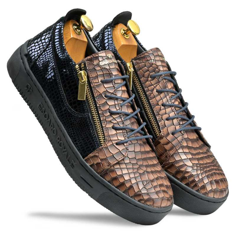 Hewitt Textured Leather Sneakers - Escaro Royale