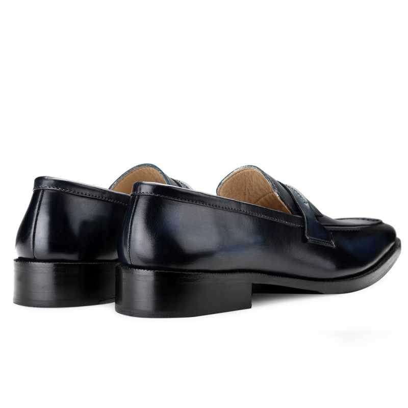 Iverson Blue Penny Loafers - Escaro Royale