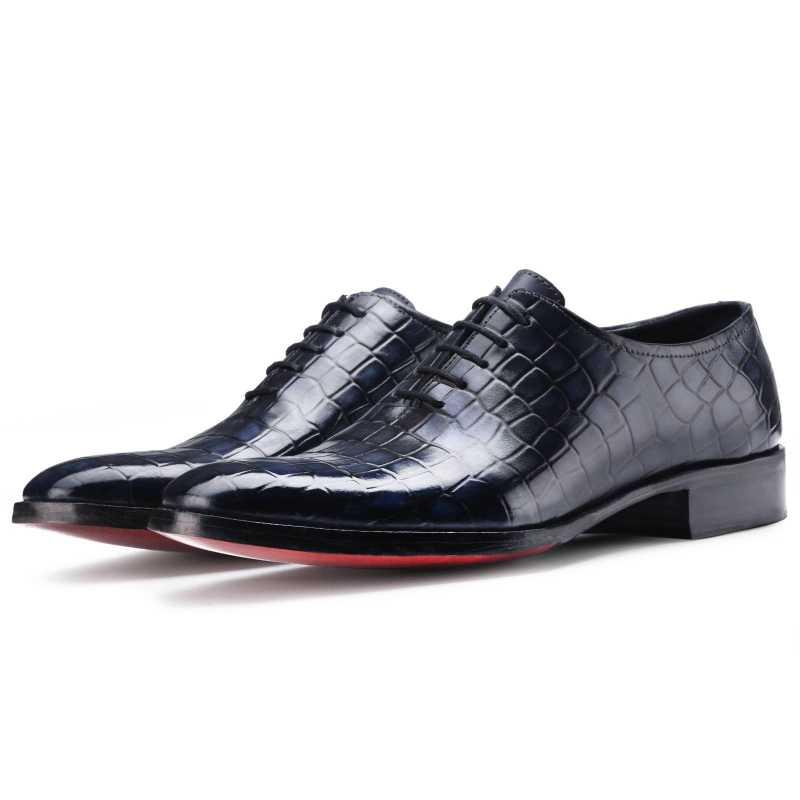 The Gama Goodyear Welted Fiddleback Wholecut Oxford in Blue