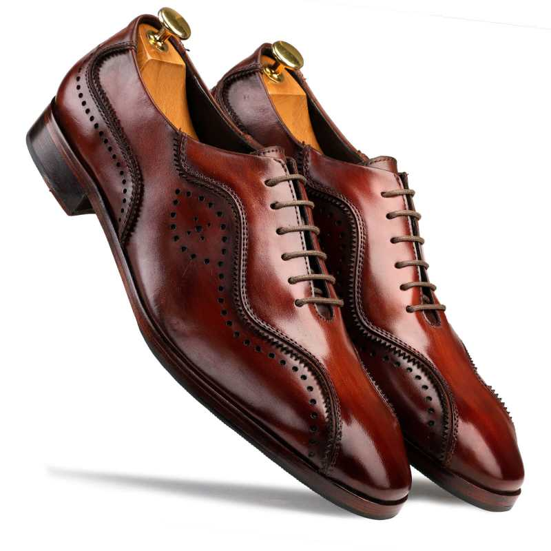 Earl Patina Oxford Shoes in Wine - Escaro Royale