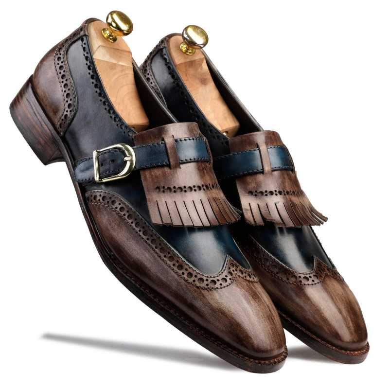 MARK Goodyear Welted Fiddleback PATINA SLIP ON SHOES IN BROWN AND BLUE - Escaro Royale