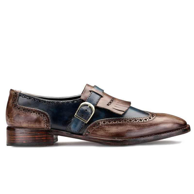 Mark Patina Slip on Shoes in Brown and Blue