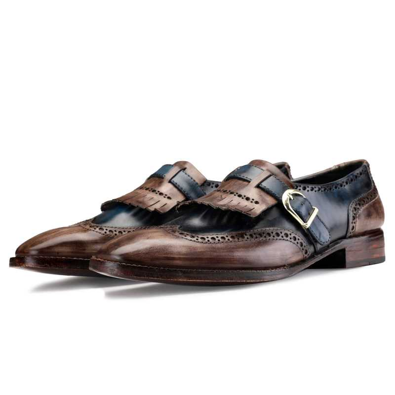 MARK Goodyear Welted Fiddleback PATINA SLIP ON SHOES IN BROWN AND BLUE