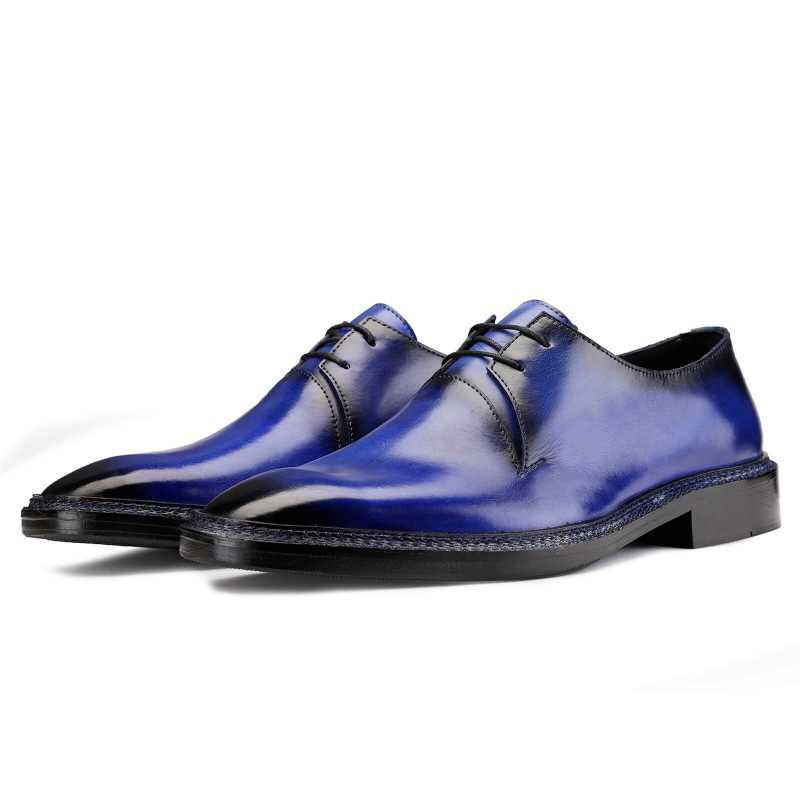Baron Patina Derby Shoes Blue - Escaro Royale
