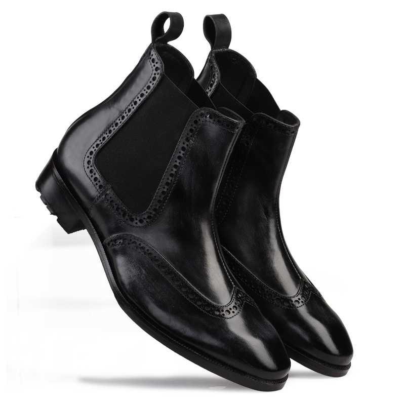 Regal Wingtip Chelsea Boots in Black - Escaro Royale
