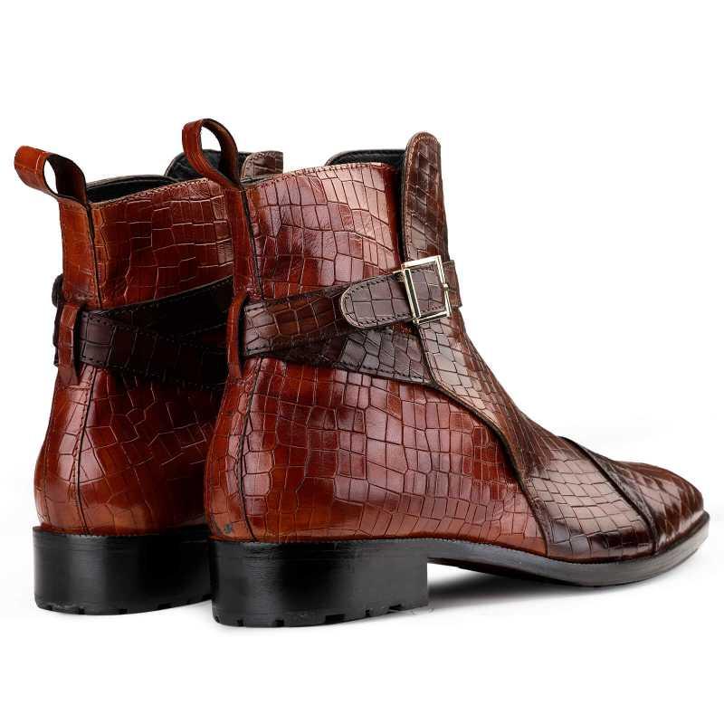 Jodhpur Boots in Patina Croco Brown