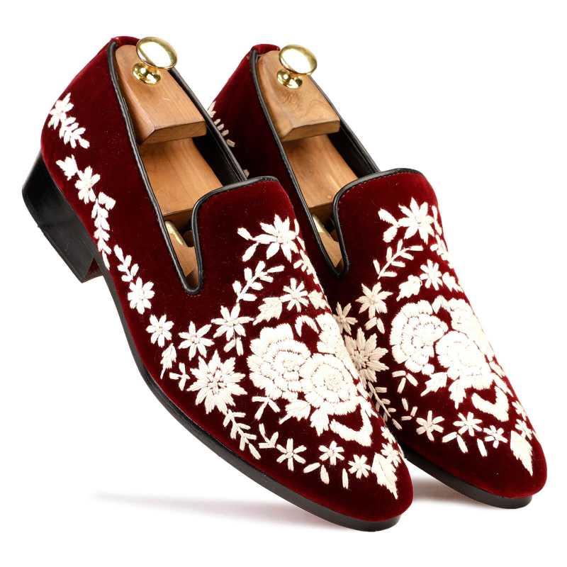 Embroidered Wedding Shoes Maroon - Escaro Royale