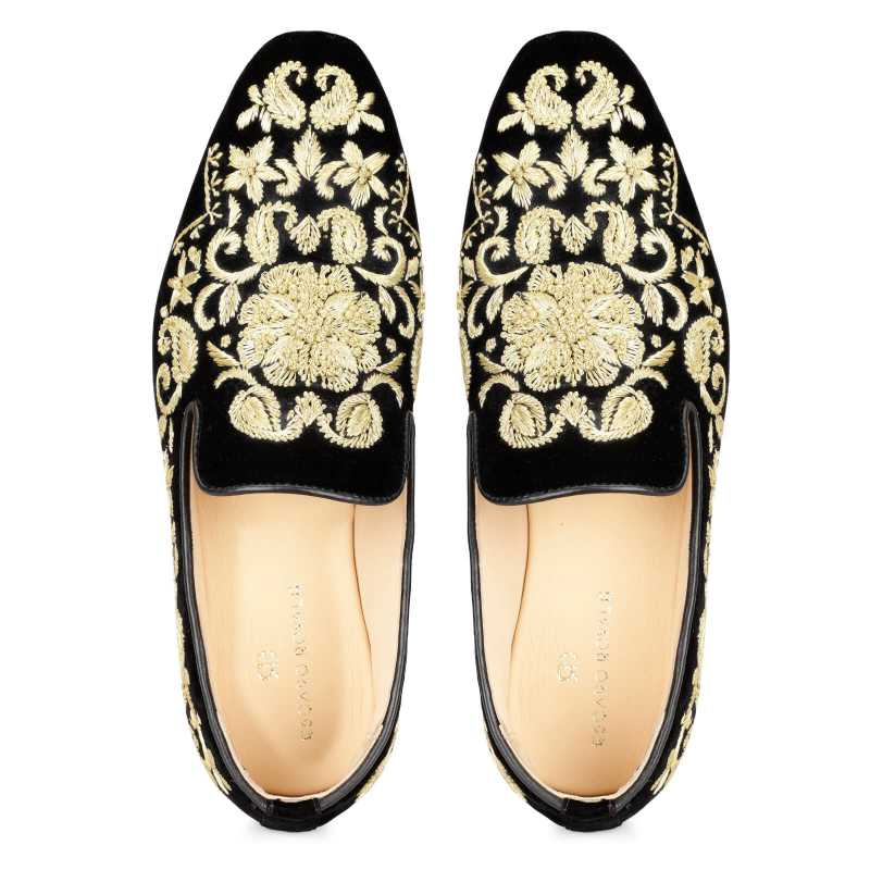 Embroidered Wedding Shoes Black and Gold