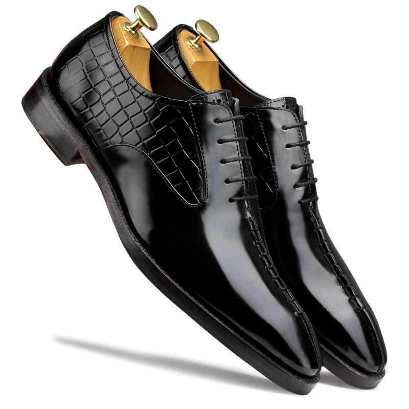 Tony Black Midsplit Oxford Shoes - Escaro Royale