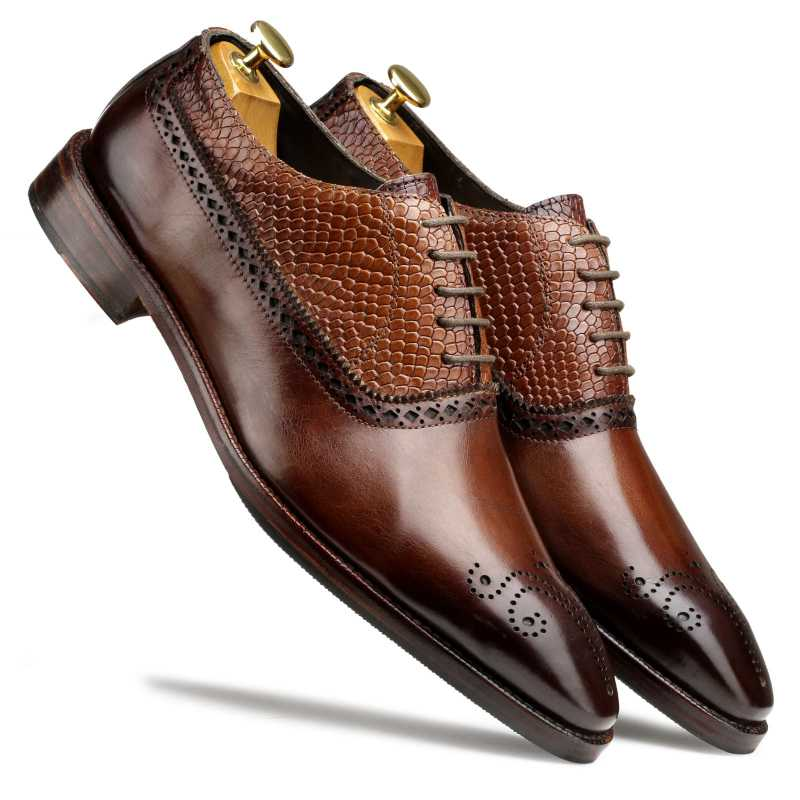 Mooney Patina Brown Oxford Shoes - Escaro Royale