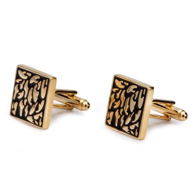 Men's Gold Plated Engraving Cufflinks - Escaro Royale