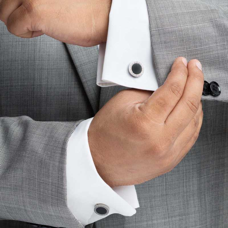 Men's Silver Plated Enamel Engraving Cufflinks - Escaro Royale