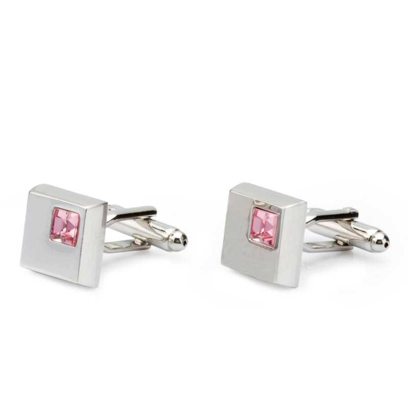 Men's Silver Plated Metal Rhinestone Crystal Cufflinks - Escaro Royale
