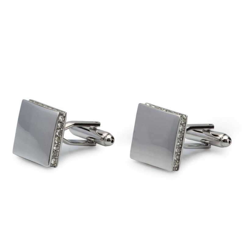 Men's Silver Plated Crystals Cufflinks - Escaro Royale