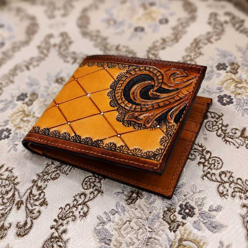 The Sankho Hand-Tooled Leather Bi-Fold Wallet - Escaro Royale
