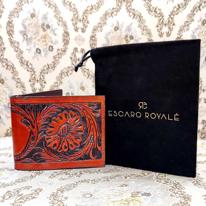 The Fiore Hand-Tooled Leather Bi-Fold Wallet - Escaro Royale