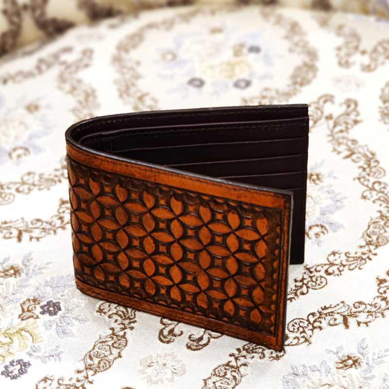 The Trellis Hand-Tooled Leather Bi-Fold Wallet - Escaro Royale