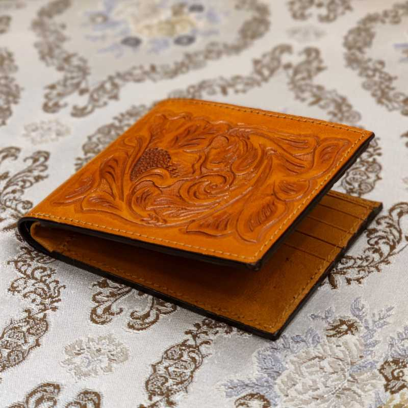 The Emboss Hand-Tooled Leather Bi-Fold Wallet - Escaro Royale