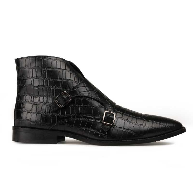 Branco Crocodile-Textured Double-Monk Black Ankle Boots