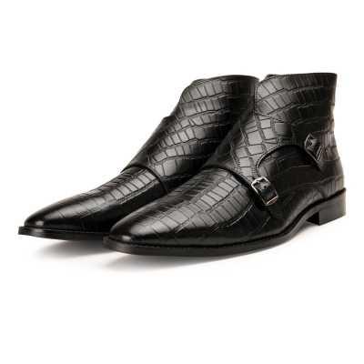 Branco Crocodile-Textured Double-Monk Black Ankle Boots