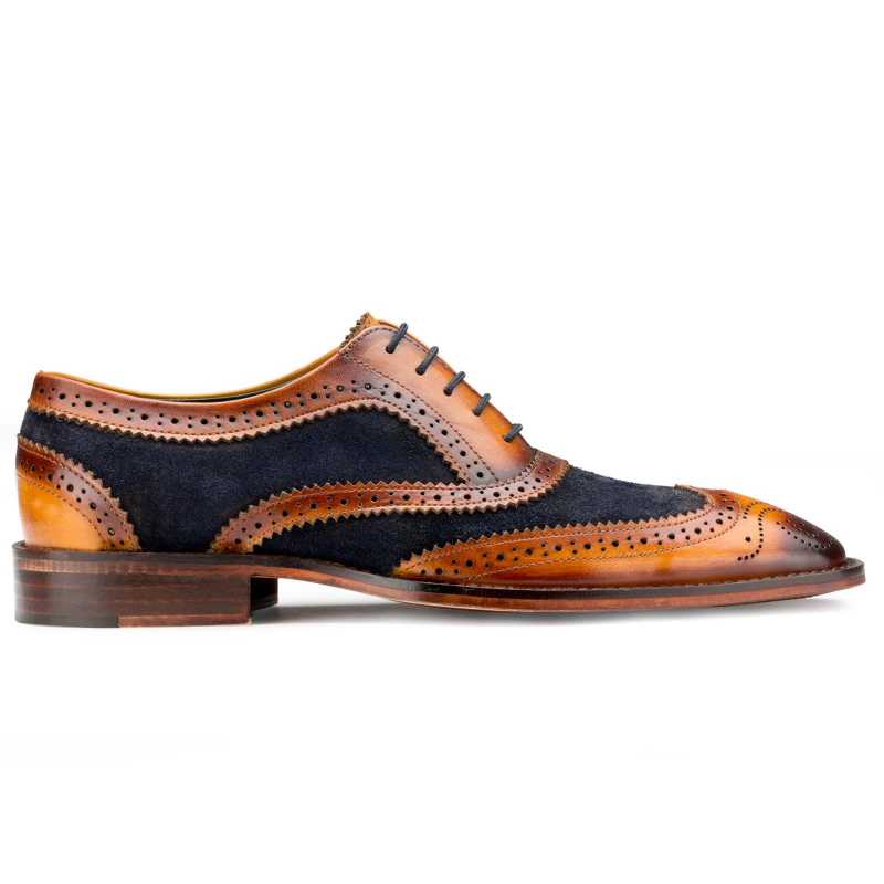 Tan-Blue Wingtip London Brogues