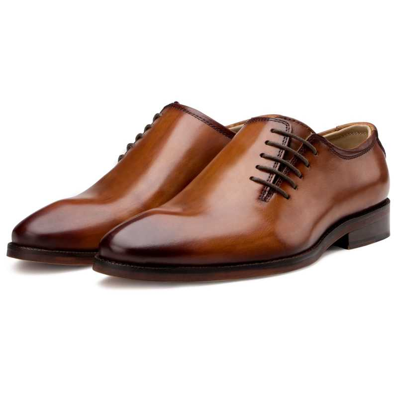 Side Lace-Up Wholecut Oxfords in Cognac