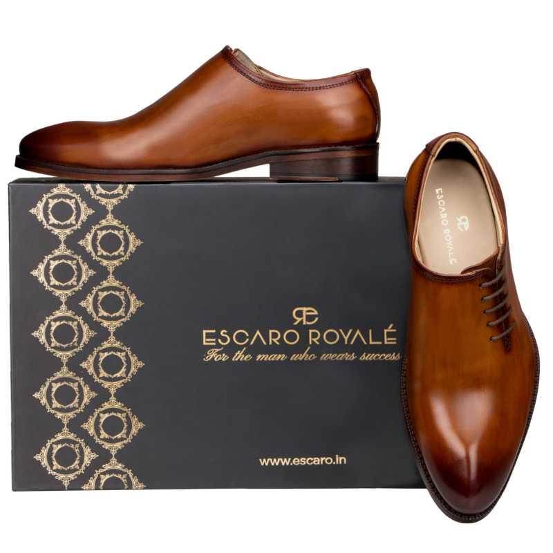 Side Lace-Up Wholecut Oxfords in Cognac - Escaro Royale