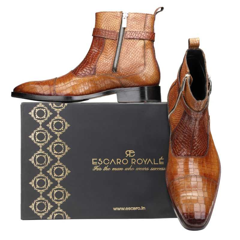 Noble Ankle Boots with Zipper in Cognac  - Escaro Royale