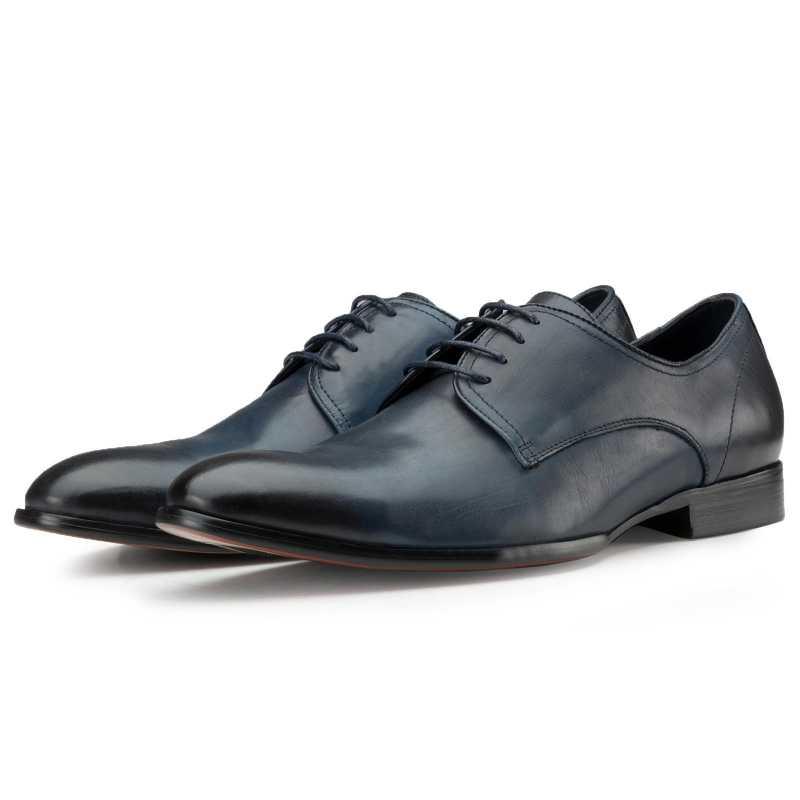 Plain Slate-Blue Dress Shoes