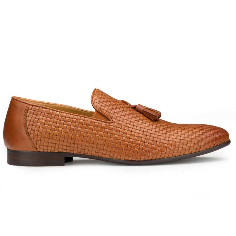 Tan Weaved Tassel Loafers