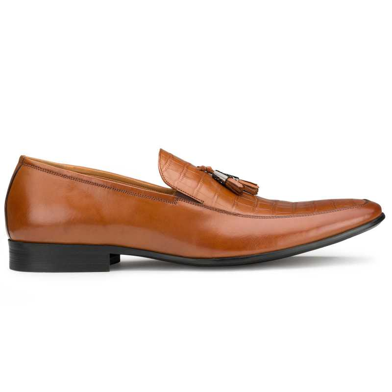 Tan Croc-Embossed Tassel Loafers