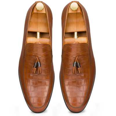 Tan Croc-Embossed Tassel Loafers