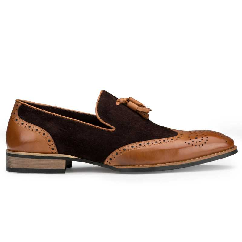 Brown-Tan Wingtip Tassel Loafers