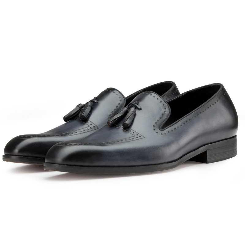 Slate-Blue Bit Tassel Loafers