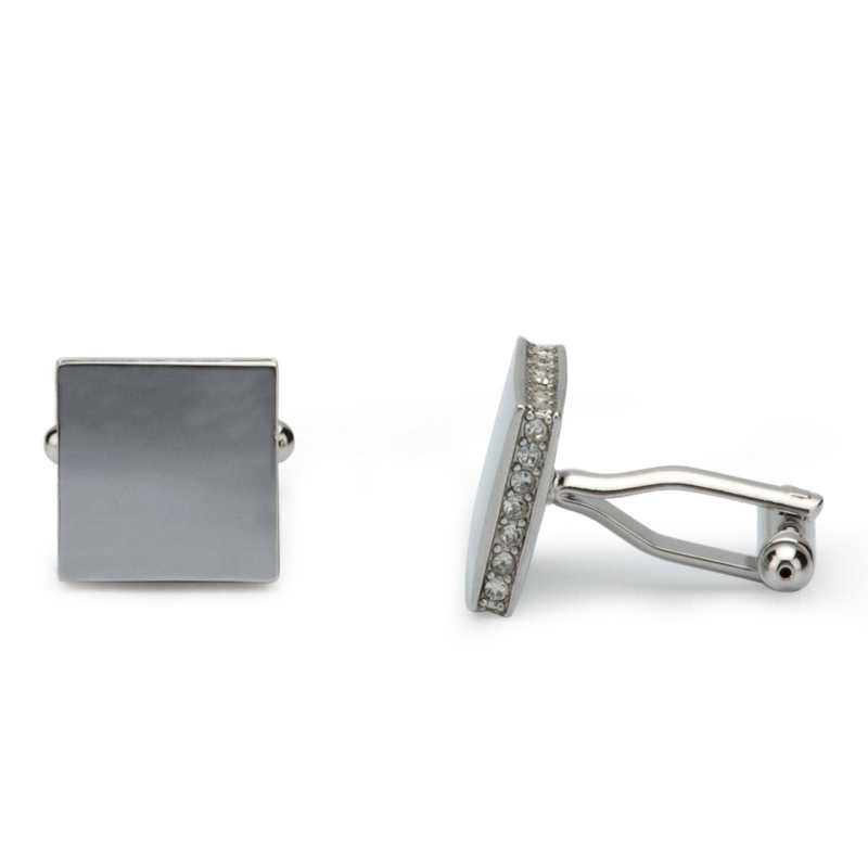 Men's Silver Plated Crystals Cufflinks