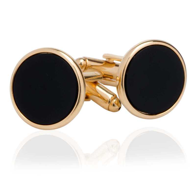 Men's Gold Plated Imitation Stone Cufflinks