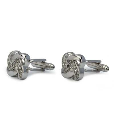Men's Silver Plated 3D Crystals Cufflinks