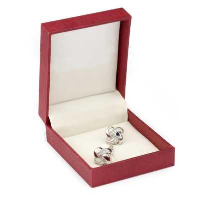 Men's Silver Plated 3D Crystals Cufflinks