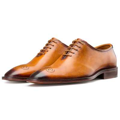 Tan Medallion Wholecut Oxford
