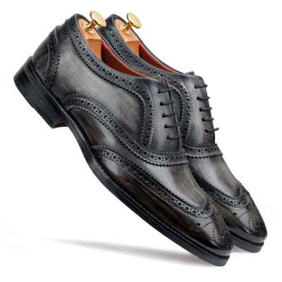 Grey Wingtip Brogue