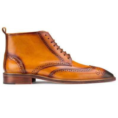 Tan Wingtip Brogue Chukka Boots