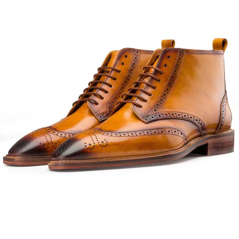Tan Wingtip Brogue Chukka Boots